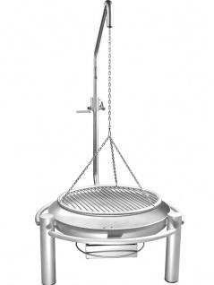 LIBATHERM Schwenkgrill, 0 Euro Versandkosten, kompl. Edelstahl V2A , Feuerschale 70 cm Durchm., Grillrost 60 cm Durchm., mit einzeln entnehmbaren 8mm Stäben und Beleuchtung