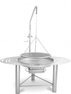 LIBATHERM Schwenkgrill, 0 Euro Versandkosten, kompl. Edelstahl V2A, Feuerschale 70 cm Durchm., Grillrost 60 cm Durchm. mit einzeln entnehmbaren 8 mm Stäben und Beleuchtung des Grillrostes