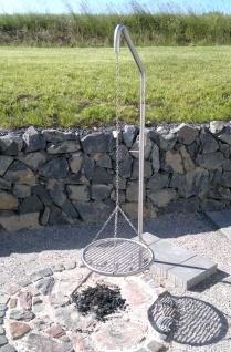 LIBATHERM Grillgalgen, 0 Euro Versandkosten, Grillgalgen-Komplett-Set, Auslegerweite 50 cm, Edelstahl-Grillrost 50 cm Durchm. mit entnehmbaren 8 mm Stäben + Bodenrohr