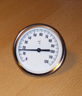 1A Zeigerthermometer mit kurzer Tauchhülse für Heizung, Kamin, Ofen, Speicher, Pufferspeicher, Spa. prehalle