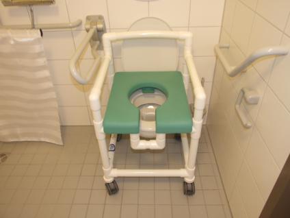 Duschstuhl 150 kg Duschhocker standsicher, über's WC als Toilettensitzerhöhung Rollen Lehnen - Vorschau 3