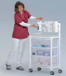 5 Tage versandfertig: Stationswagen Pflegewagen platzsparend Hygiene; als MRT Produkt auch im Shop