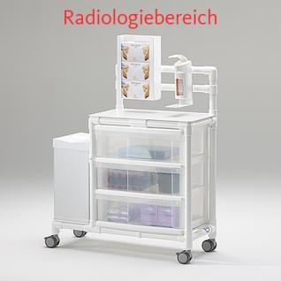 Versandfertig nach 3 Tagen: MRT Stationswagen mit Abfalleimer Radiologie platzsparend Hygiene RCN