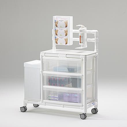 Stationswagen Pflegewagen mit Abfalleimer platzsparend Hygiene RCN; als MRT Produkt auch im Shop