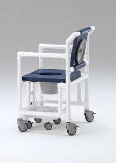 XXL 250 kg rollbarer Duschtoilettenstuhl Toilettensitzerhöhung Toilettenstuhl Profi-Duschstuhl demenzgerecht - Vorschau 2