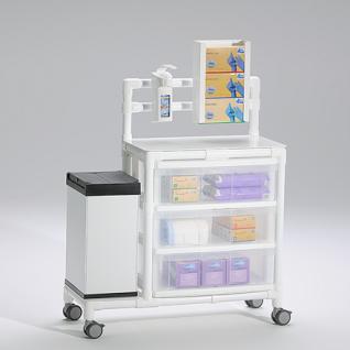 Stationswagen Pflegewagen mit Abfalleimer platzsparend Hygiene RCN; als MRT Produkt auch im Shop - Vorschau 3