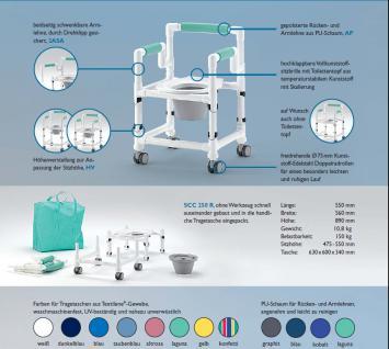 Für den faltbaren REISE-Toilettenstuhl, wasserdichtes Sitzpolster mit massiver Sitzplatte, bis 150 kg belastbar - Vorschau 2