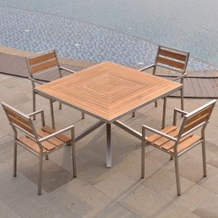 Designer Essgruppe Tisch Andalo + 4 Stapelstühle Endine Teakholz Edelstahl