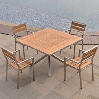 Designer Essgruppe Tisch Andalo + 4 Stühle Lavarone Teakholz Edelstahl