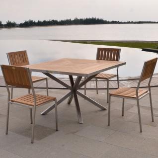 Designer Tischset Andalo Tisch + 4 Stühle Cantene Teakholz Edelstahl