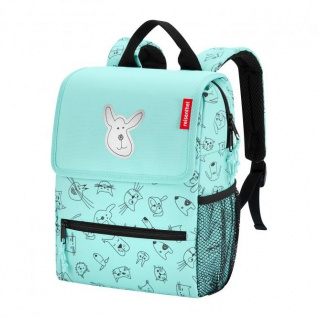 reisenthel Rucksack Kinder 5 Liter backpack cats and dogs -Mint Polyester mit Reflektor 21x28x12 cm