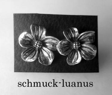 Ohrstecker Silber Blüte 16 mm oxydiert