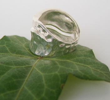 Breiter Silberring gehämmert - Vorschau 2
