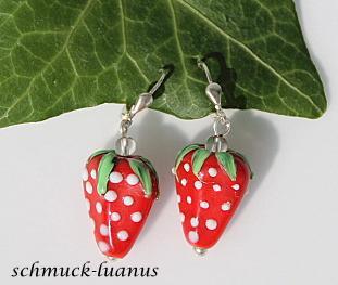 Erdbeer Ohrringe Silber