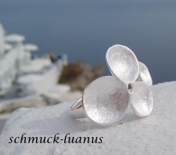 Silberring matt Blüte