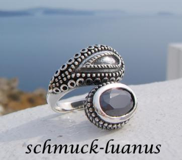 Ring Silber schwarzer Stein