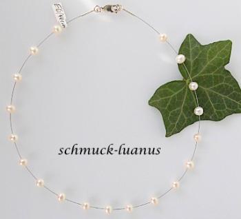 Perlenkette Draht Collier Perlen weiß - Vorschau 2