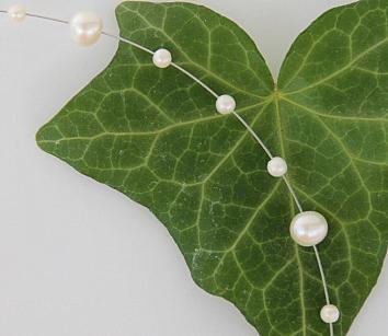 Perlenkette Draht Collier Perlen weiß - Vorschau 5