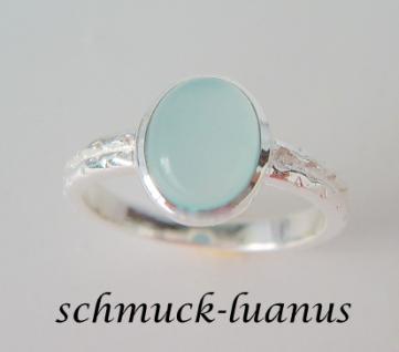 Aqua Chalcedon Ring Silber