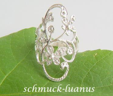 Silberring durchbrochen Blüten