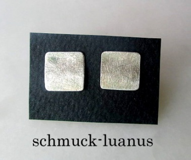 Silber Ohrstecker matt quadratisch