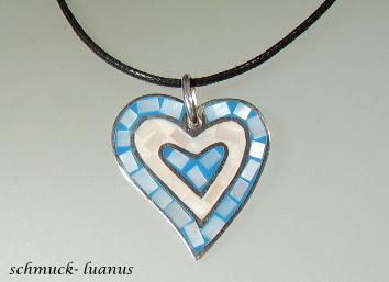 Herzanhänger Silber Perlmutt