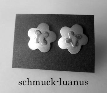 Ohrstecker Silber matt 12 mm Blüte