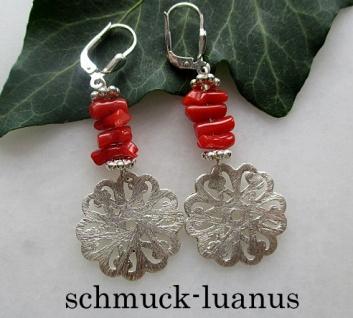 Ohrringe rote Koralle Silber