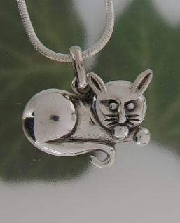 Kettenanhänger Katze Silber