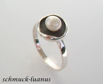 Silberring Perle weiß - Vorschau 1