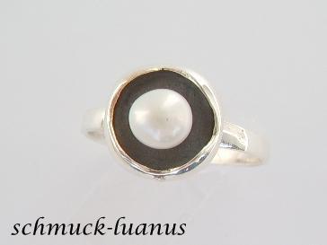 Silberring Perle weiß - Vorschau 2