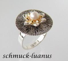 Silberring Perle weiß