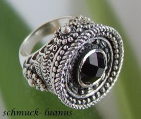 Silberring schwarzer Stein