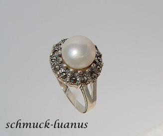 Silberring Perle Markasit - Vorschau 3