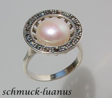 Silberring Perle Markasit - Vorschau 1