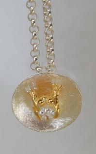 Frosch Anhänger Silber vergoldet - Vorschau 3