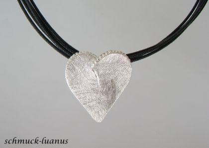 Herzanhänger Silber matt