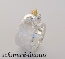 Frosch Ring Silber matt