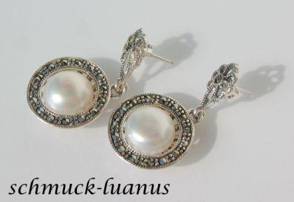Markasit Ohrringe mit Perle - Vorschau 1