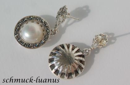 Markasit Ohrringe mit Perle - Vorschau 2