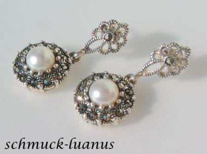 Perlenohrringe Silber Markasit