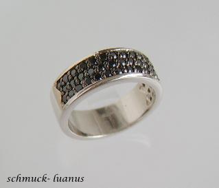 Pave Zirkonia Ring Silber schwarz