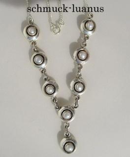 Perlenkette Silber weiß Collier Perlen