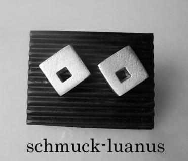 Ohrstecker Silber matt quadratisch 9x9 mm