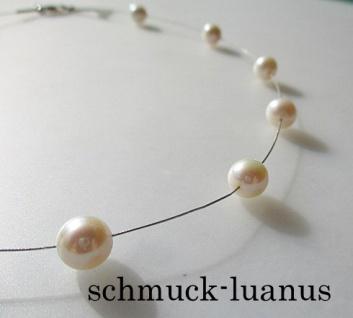 Perlenkette Draht Collier Perlen weiß