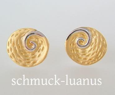 Ohrstecker Silber vergoldet 10 mm Spirale