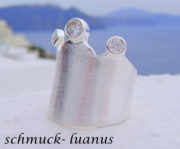Ring Silber breit matt Kronenring Zirkonia