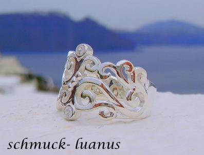 Ring Silber Zirkonia filigran durchbrochen