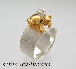 Frosch Ring Silber vergoldet