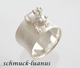 Frosch Ring Silber breit